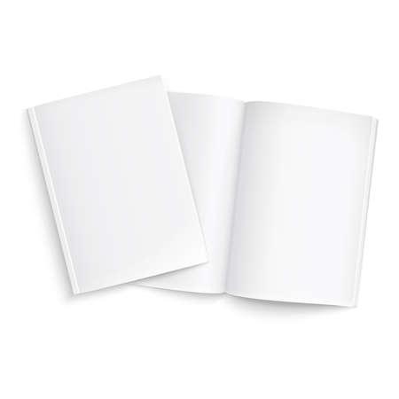 Ilustración de Couple of blank magazines template. on white background with soft shadows. Ready for your design. Vector illustration.  - Imagen libre de derechos