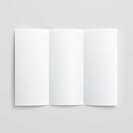 Ilustración de White stationery: blank trifold paper brochure on gray background with soft shadows and highlights. Vector illustration. EPS10. - Imagen libre de derechos