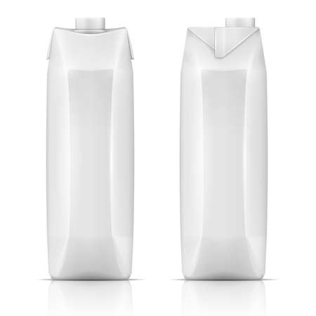 Illustration for White carton pack template for beverage: juice, milk. Front and side view. Packaging collection. Vector illustration. - Royalty Free Image