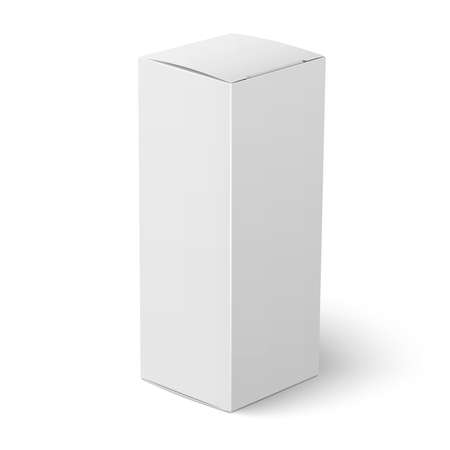 Illustration pour Blank vertical paper or cardboard box template standing on white background Packaging collection. Vector illustration. - image libre de droit