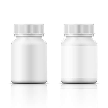 Illustration pour Template of white plastic bottle with screw cap for medicine, pills, tabs. Packaging collection. Vector illustration. - image libre de droit