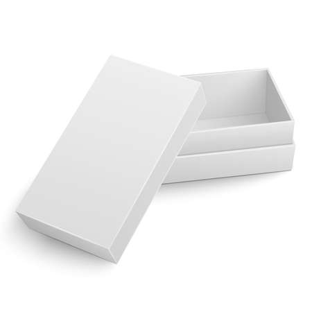 Illustration for Template of blank cardboard box with opened lid lying on white background Packaging collection. Vector illustration. - Royalty Free Image