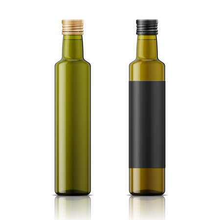 Ilustración de Glass bottle with screw cap for olive oil or vinegar. Different shades of green, black label example. Template for product design. Packaging collection. - Imagen libre de derechos
