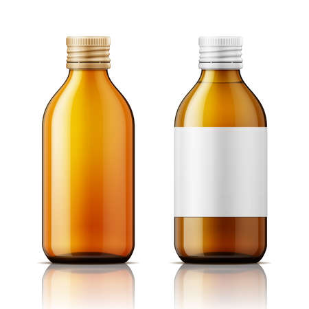 Illustration for Template of brown glass bottle with screw cap, filled with liquid and empty. For medicine, syrup, pills, tabs. Packaging collection. Vector illustration. - Royalty Free Image