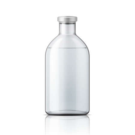 Illustration pour Template of empty transparent glass bottle with aluminium cap, filled with distilled water or salt solution. Packaging collection. Vector illustration. - image libre de droit