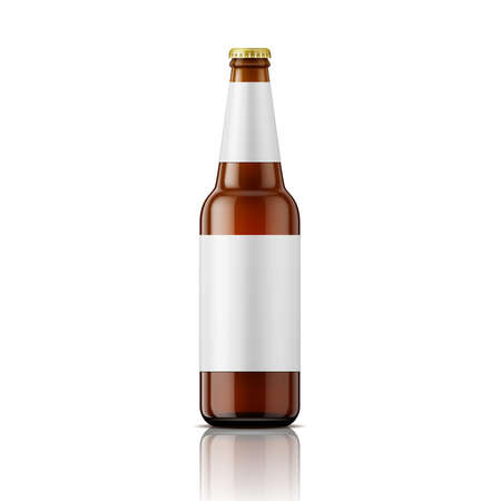 Illustration for Template of empty brown glass beer bottle with blank labels on white background. Vector illustration. Packaging collection. - Royalty Free Image