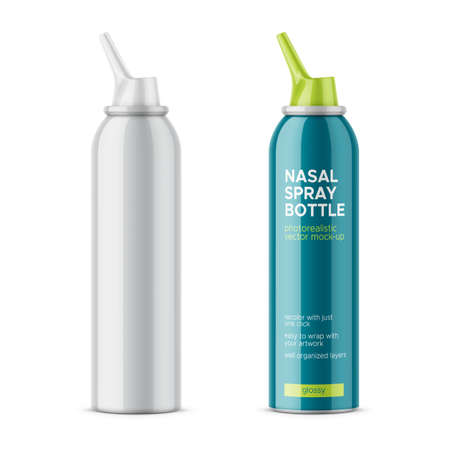 Illustration pour White glossy aluminum bottle with sprayer for nasal spray on white background. - image libre de droit