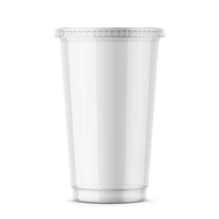 Illustration pour Clear disposable plastic cup with lid. - image libre de droit