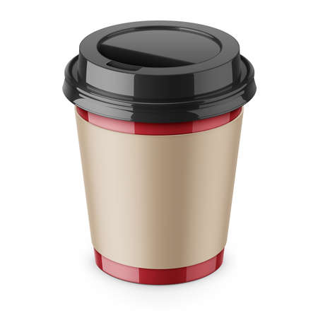 Illustration for Disposable paper coffee cup with lid and sleeve. - Royalty Free Image