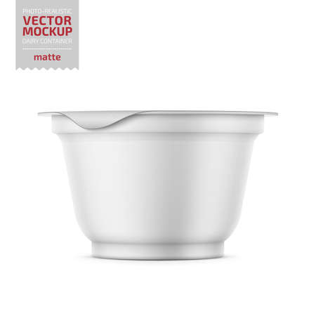 Illustration for Round white matte plastic pot with foil cover for yogurt, cream, dessert or jam. 200 ml. Photo-realistic packaging mockup template with sample design. Vector illustration. - Royalty Free Image