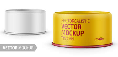 Illustration for Low-profile matte tuna can with label on white background. Photo-realistic packaging vector mockup template with sample design. Vector 3d illustration. - Royalty Free Image