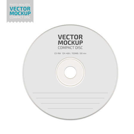 Illustration pour White blank compact disc mock up vector. - image libre de droit