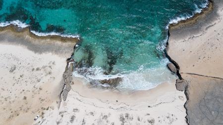 Foto de sea beach coast Bonaire island Caribbean sea aerial drone top - Imagen libre de derechos