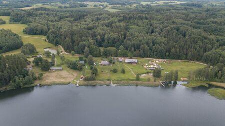Foto de Amatciems lake Aerial drone top view Latvia - Imagen libre de derechos