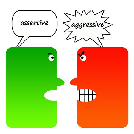 Photo pour Assertive versus aggresive illustration - image libre de droit