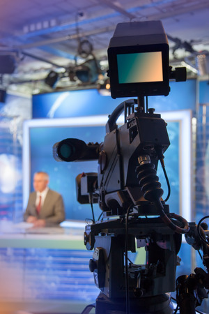 Photo for Video camera - recording in TV studio - Talking To The Camera - Royalty Free Image