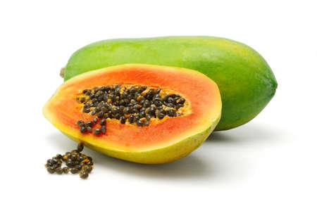 Photo for Half slice and whole papaya fruits on white background - Royalty Free Image