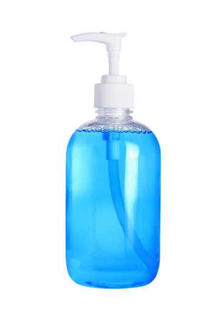 Foto de Liquid Hand Sanitizer Soap in Plastic Dispenser on White Background - Imagen libre de derechos