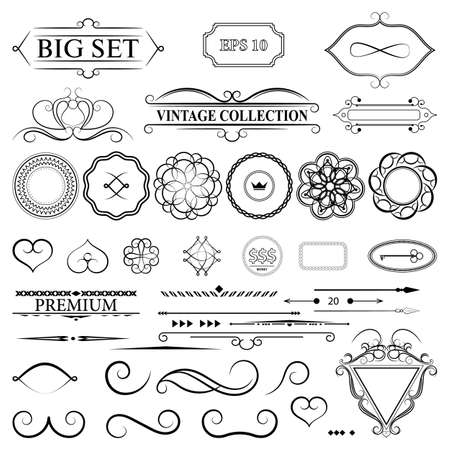 Illustration for Vintage set decor elements for menu. Elegance old hand drawing set. Outline ornate swirl leaves, label, acanthus elements, shield and decor elements in vector. Sketch for writer, wedding or restaurant. - Royalty Free Image
