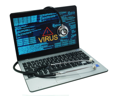 Photo for stethoscope on a laptop with virus              - Royalty Free Image