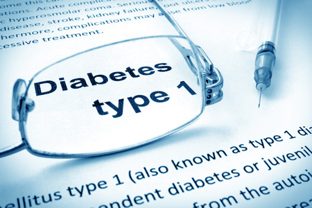 Photo for Paper with words diabetes type 1 and glasses. - Royalty Free Image