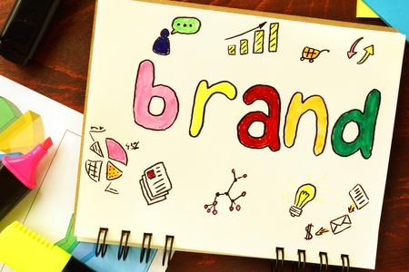 Photo pour Notepad with brand. Branding concept. - image libre de droit