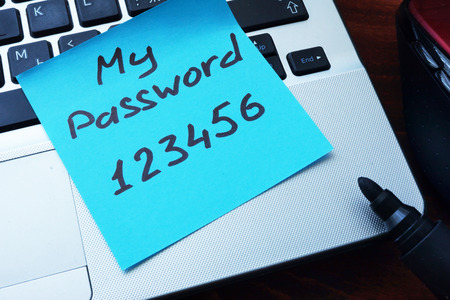 Photo for Easy Password concept.  My password 123456 written on a paper with marker. - Royalty Free Image