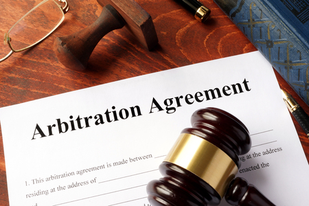 Photo pour Arbitration agreement form on an office table. - image libre de droit