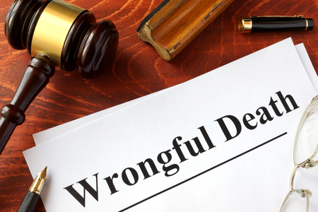 Photo for Document with title Wrongful Death o a wooden surface. - Royalty Free Image