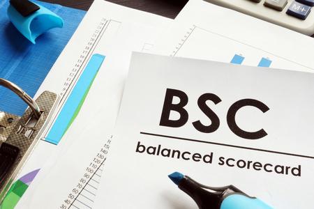 Photo pour Documents about balanced scorecard BSC on a table. - image libre de droit