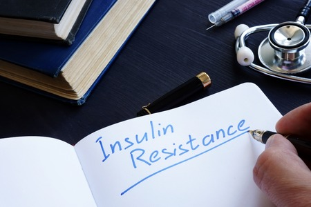 Foto per Insulin Resistance handwritten in a note pad. - Immagine Royalty Free