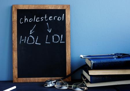 Photo pour Cholesterol HDL LDL written on a blackboard. - image libre de droit