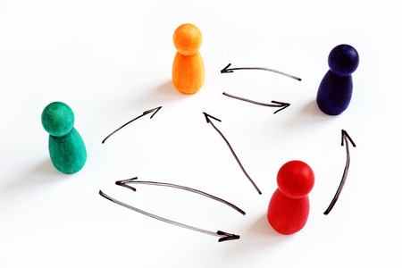 Photo for Flat or horizontal organizational structure. Figurines and arrows. - Royalty Free Image