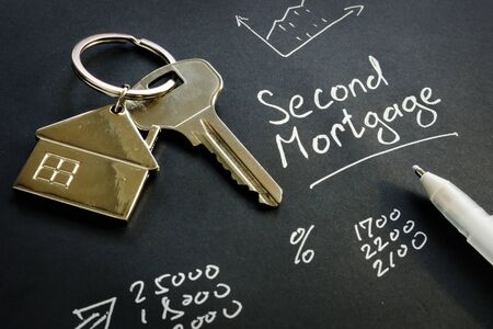 Photo pour Second Mortgage sign and key from home. - image libre de droit