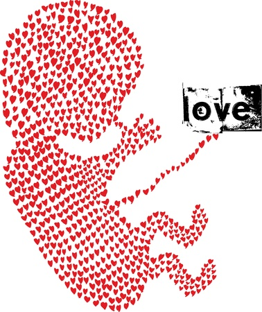 Illustration for  fetus made with love. Vector illustration  - Royalty Free Image
