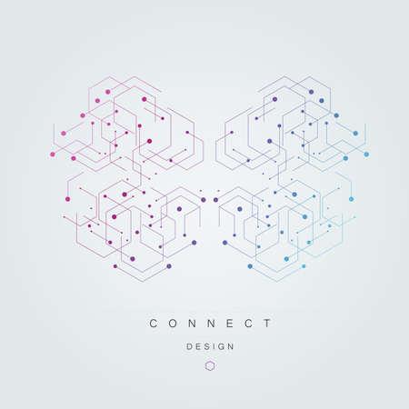 Illustration pour Hexagons genetic banner. - image libre de droit