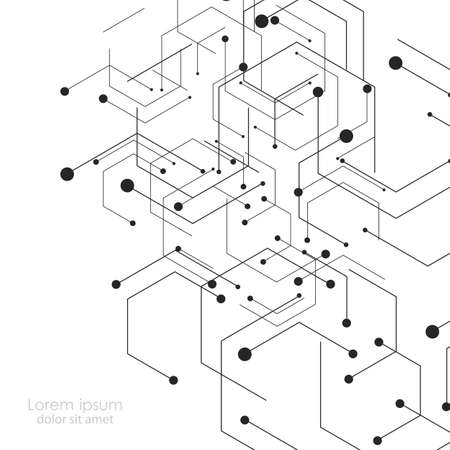 Illustration pour Hexagons genetic, science, chemical carcass. Vector connection and social network. Concept with lines and dots. - image libre de droit