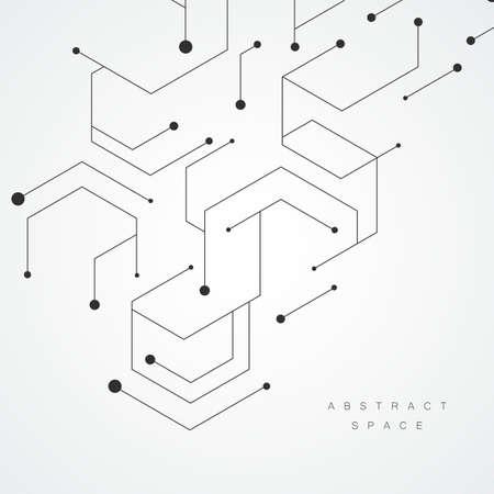 Illustration pour Hexagonal technology pattern. Molecular connect composition - image libre de droit