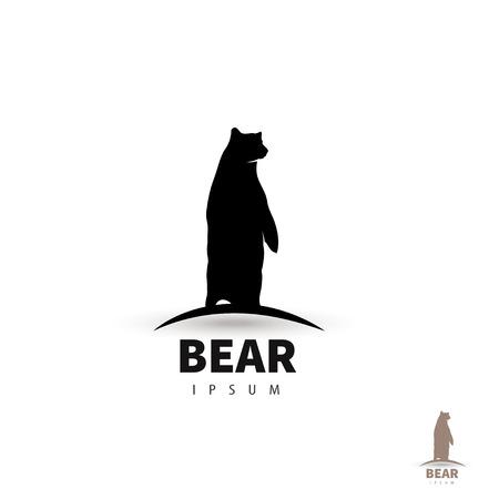 Illustration pour Stylized bear  design template. Artistic animal silhouette.  - image libre de droit
