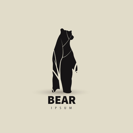 Illustration for Stylized bear logo design template for your company. Artistic animal silhouette. Vector illustration. - Royalty Free Image