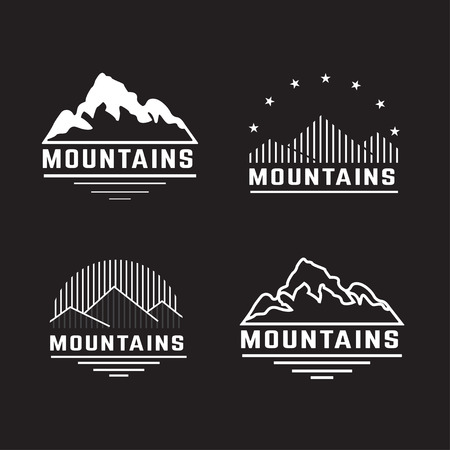 Illustration pour Vector set of mountain icons. - image libre de droit