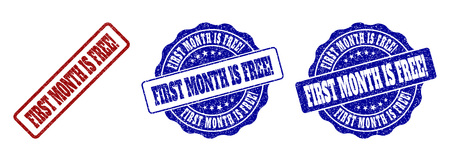 Ilustración de FIRST MONTH IS FREE! scratched stamp seals in red and blue colors. Vector FIRST MONTH IS FREE! labels with grunge surface. Graphic elements are rounded rectangles, rosettes, circles and text titles. - Imagen libre de derechos
