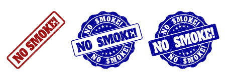 Ilustración de NO SMOKE! scratched stamp seals in red and blue colors. Vector NO SMOKE! labels with grainy effect. Graphic elements are rounded rectangles, rosettes, circles and text labels. - Imagen libre de derechos