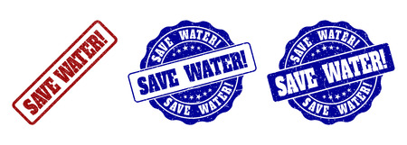 Ilustración de SAVE WATER! scratched stamp seals in red and blue colors. Vector SAVE WATER! labels with distress effect. Graphic elements are rounded rectangles, rosettes, circles and text labels. - Imagen libre de derechos
