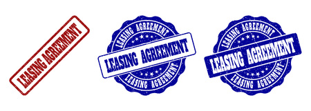 Illustration pour LEASING AGREEMENT grunge stamp seals in red and blue colors. Vector LEASING AGREEMENT imprints with grunge texture. Graphic elements are rounded rectangles, rosettes, circles and text captions. - image libre de droit