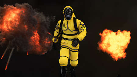 Photo pour A man in a protective suit walks against the background of smoke and explosions. 3D rendering - image libre de droit