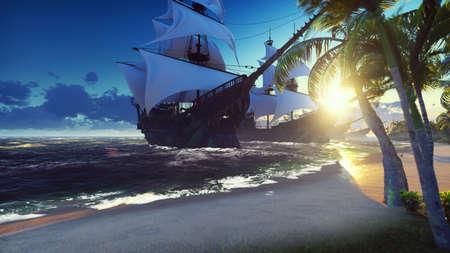 Foto de A large medieval ships at sea at sunrise. An ancient medieval ships moored near a desert tropical island. 3D Rendering - Imagen libre de derechos