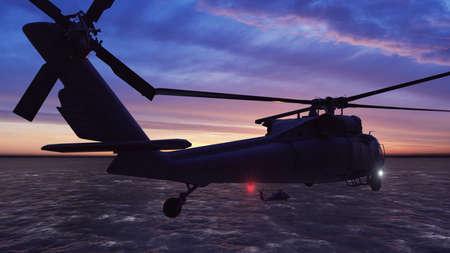 Foto de Black hawk military helicopters fly at sunrise across the boundless sea. 3D Rendering - Imagen libre de derechos