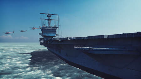 Foto de Military helicopters Blackhawk take off from an aircraft carrier at clear day in the endless sea. 3D Rendering - Imagen libre de derechos