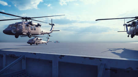 Foto de Military helicopters Blackhawk take off from an aircraft carrier at clear day in the endless blue sea. 3D Rendering - Imagen libre de derechos